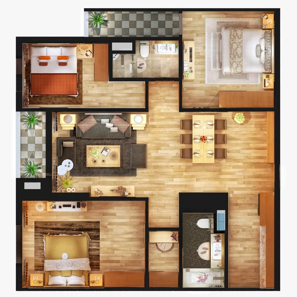 thiết kế căn hộ Gold Mark City.