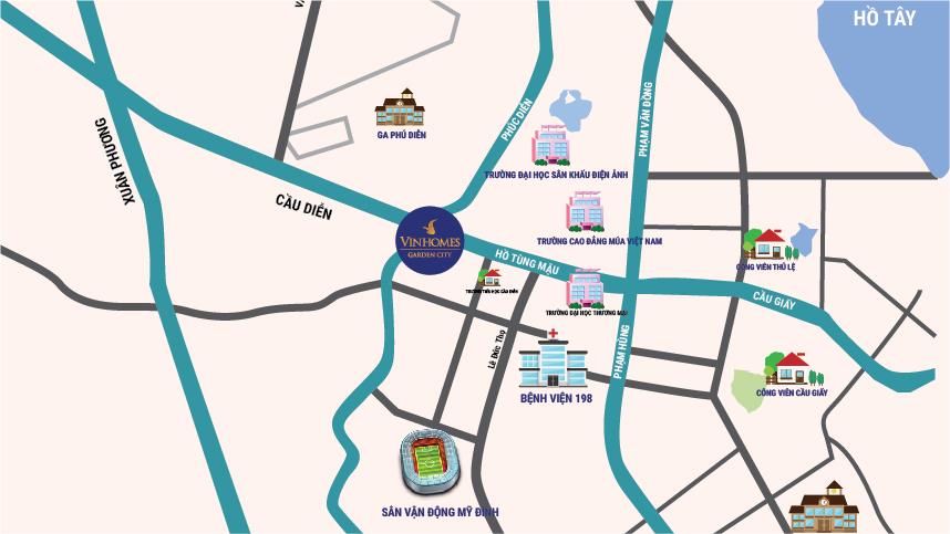 Vị trí chung cư Vinhomes Gardenia Mỹ Đình - An Binh City